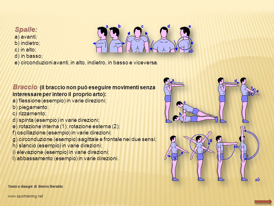 Spalle: a) avanti; b) indietro; c) in alto; d) in basso; e) circonduzioni avanti, in alto, indietro, in basso e viceversa.