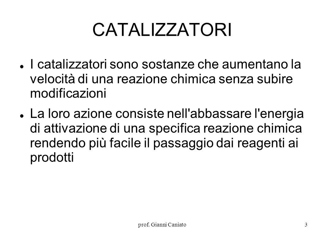 CATALIZZATORI I catalizzatori sono sostanze che aumentano la velocità di una reazione chimica senza subire modificazioni.