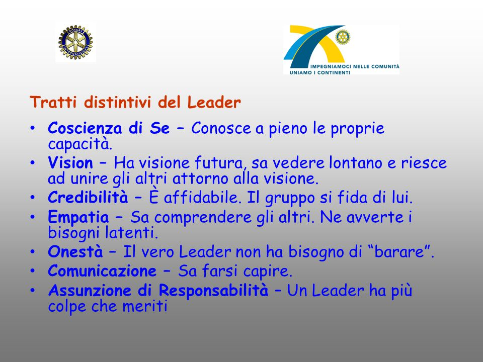 Tratti distintivi del Leader