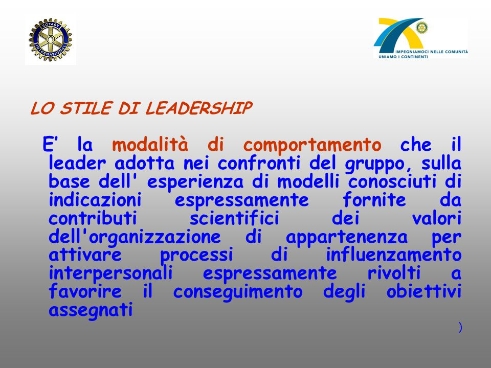 LO STILE DI LEADERSHIP