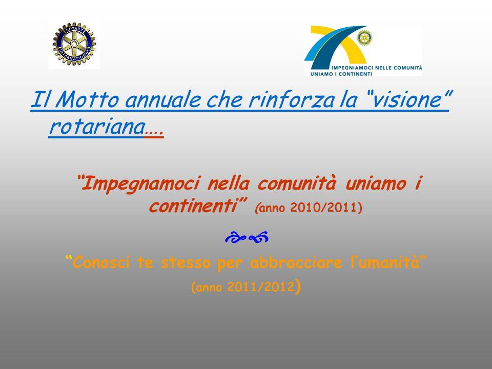 Il Motto annuale che rinforza la visione rotariana….