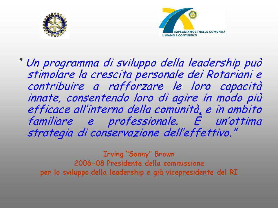 Un programma di sviluppo della leadership può stimolare la crescita personale dei Rotariani e contribuire a rafforzare le loro capacità innate, consentendo loro di agire in modo più efficace all'interno della comunità, e in ambito familiare e professionale. È un'ottima strategia di conservazione dell'effettivo.