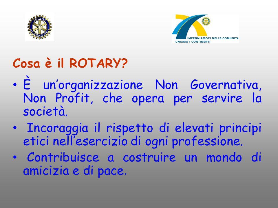 Cosa è il ROTARY È un'organizzazione Non Governativa, Non Profit, che opera per servire la società.