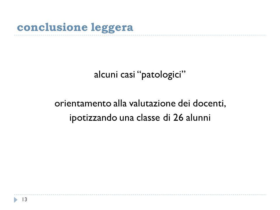 conclusione leggera alcuni casi patologici orientamento alla valutazione dei docenti, ipotizzando una classe di 26 alunni