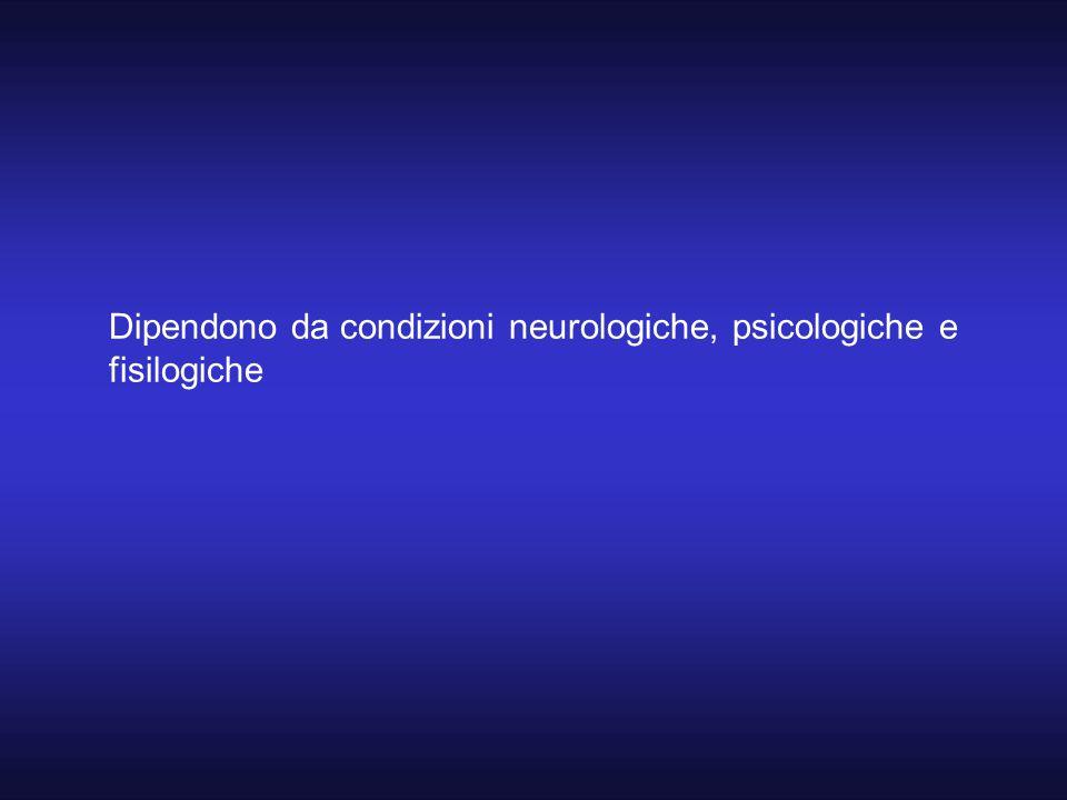 Dipendono da condizioni neurologiche, psicologiche e fisilogiche