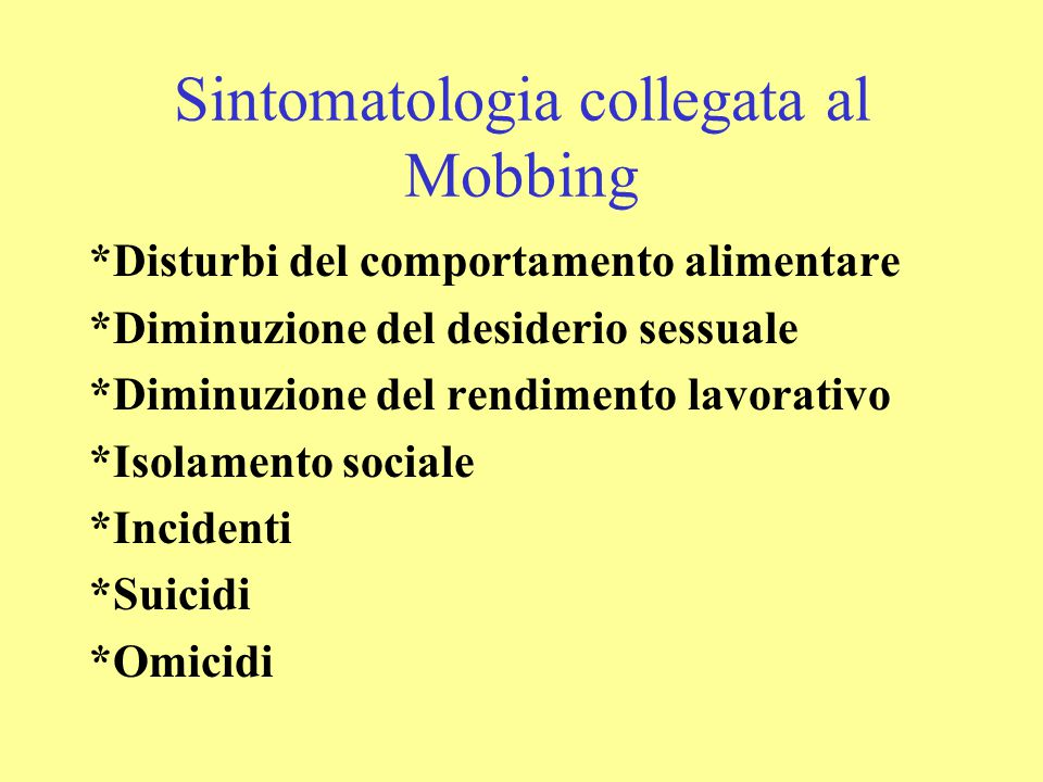 Sintomatologia collegata al Mobbing