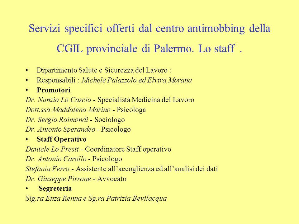 Servizi specifici offerti dal centro antimobbing della CGIL provinciale di Palermo. Lo staff .