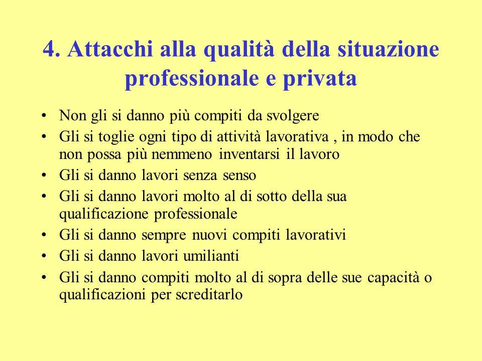 4. Attacchi alla qualità della situazione professionale e privata