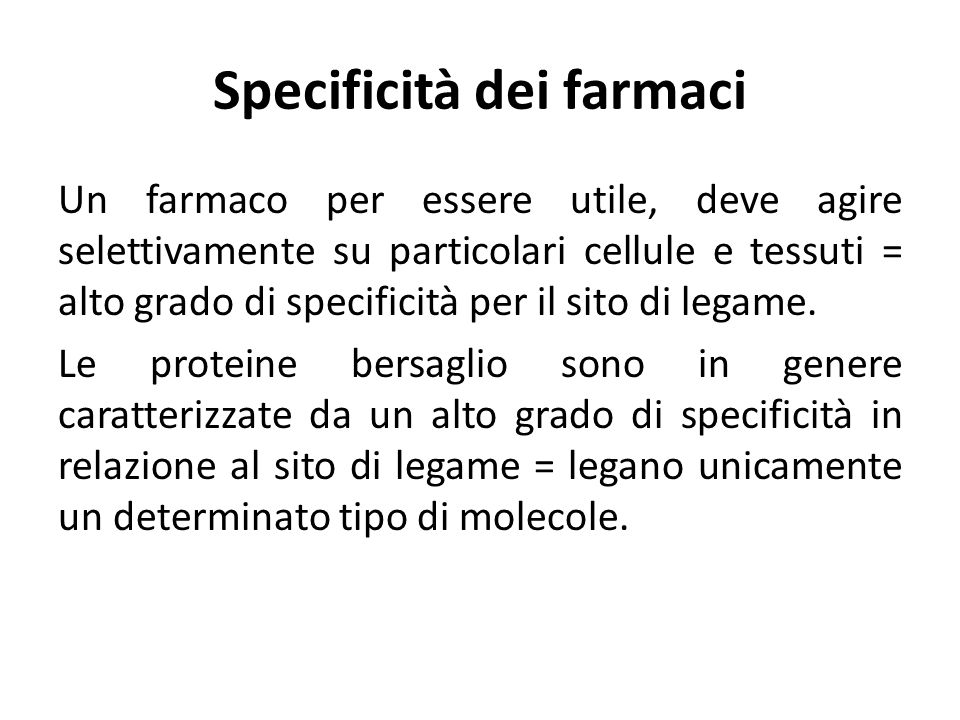Specificità dei farmaci