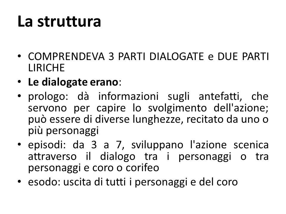 La struttura COMPRENDEVA 3 PARTI DIALOGATE e DUE PARTI LIRICHE