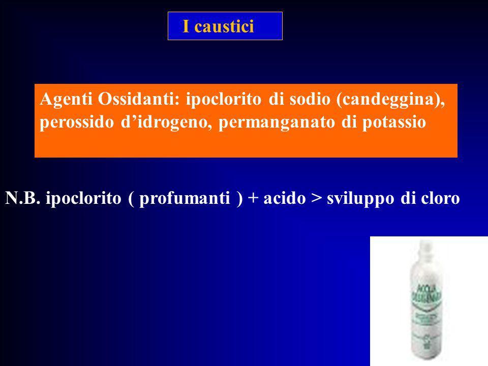 I caustici Agenti Ossidanti: ipoclorito di sodio (candeggina), perossido d'idrogeno, permanganato di potassio.