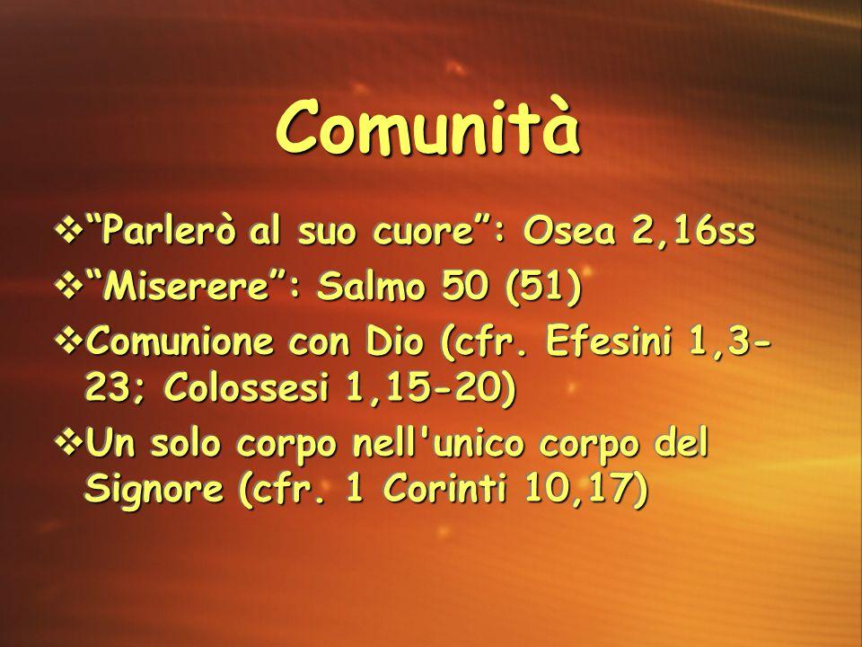 Comunità Parlerò al suo cuore : Osea 2,16ss Miserere : Salmo 50 (51)