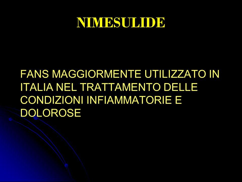 NIMESULIDE FANS MAGGIORMENTE UTILIZZATO IN ITALIA NEL TRATTAMENTO DELLE CONDIZIONI INFIAMMATORIE E DOLOROSE.