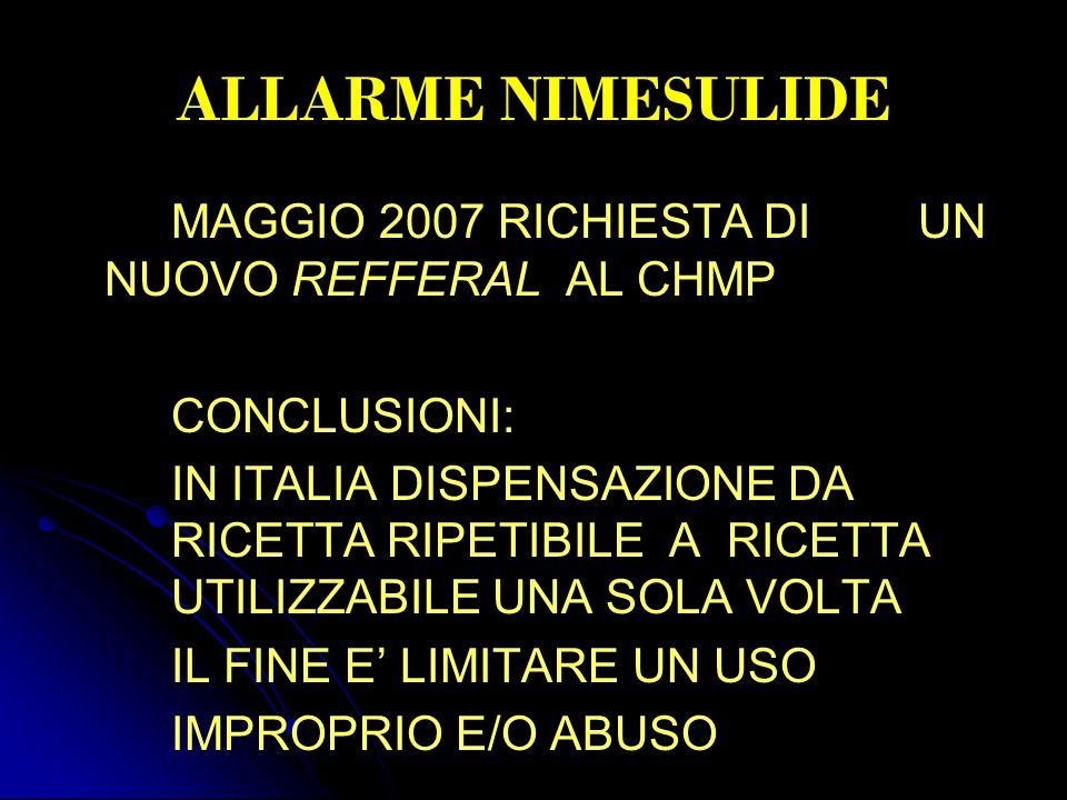 ALLARME NIMESULIDE MAGGIO 2007 RICHIESTA DI UN NUOVO REFFERAL AL CHMP