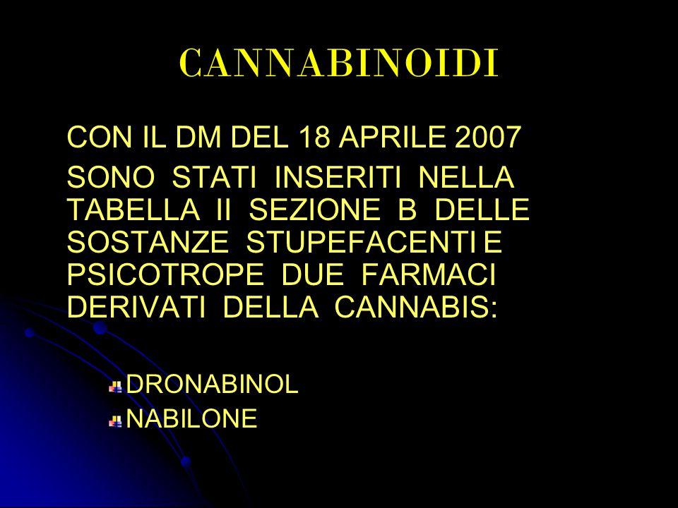 CANNABINOIDI CON IL DM DEL 18 APRILE 2007