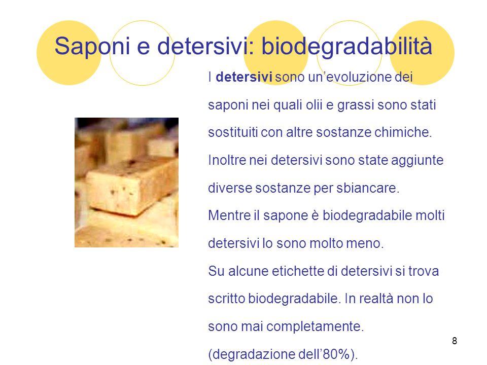 Saponi e detersivi: biodegradabilità