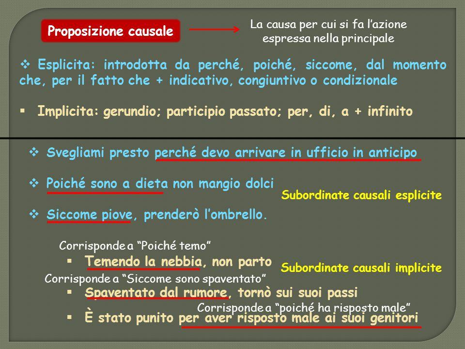 Subordinate causali esplicite Subordinate causali implicite