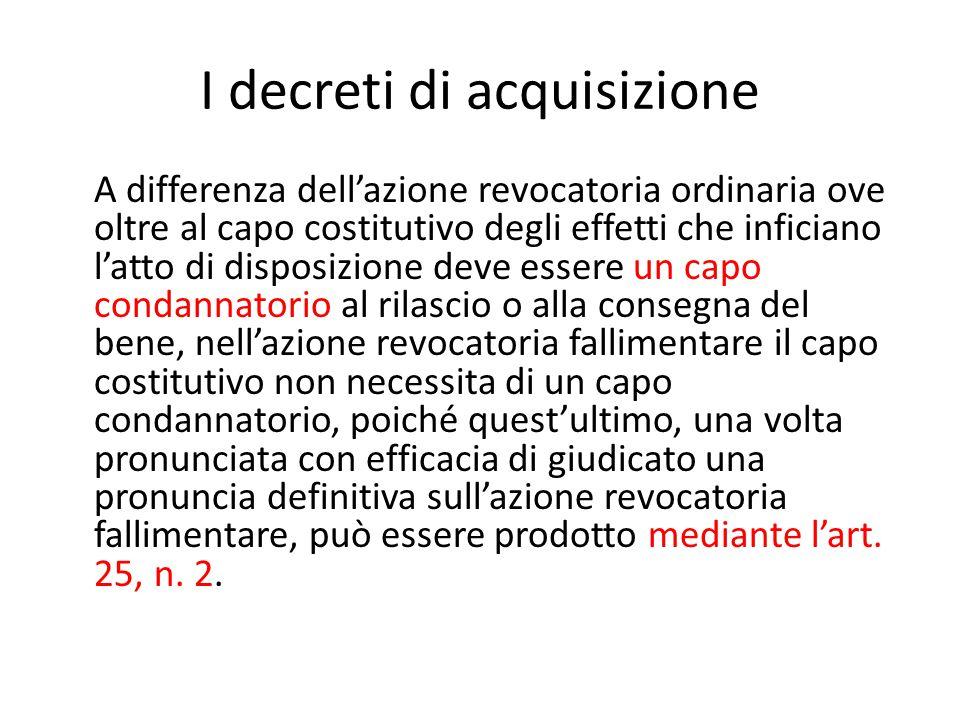 I decreti di acquisizione
