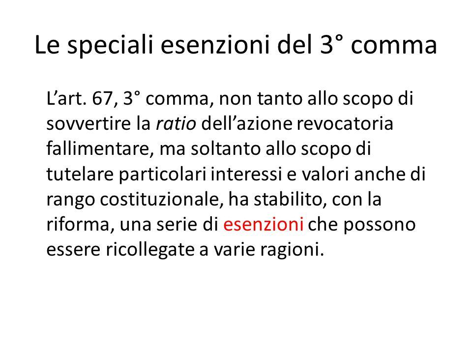 Le speciali esenzioni del 3° comma