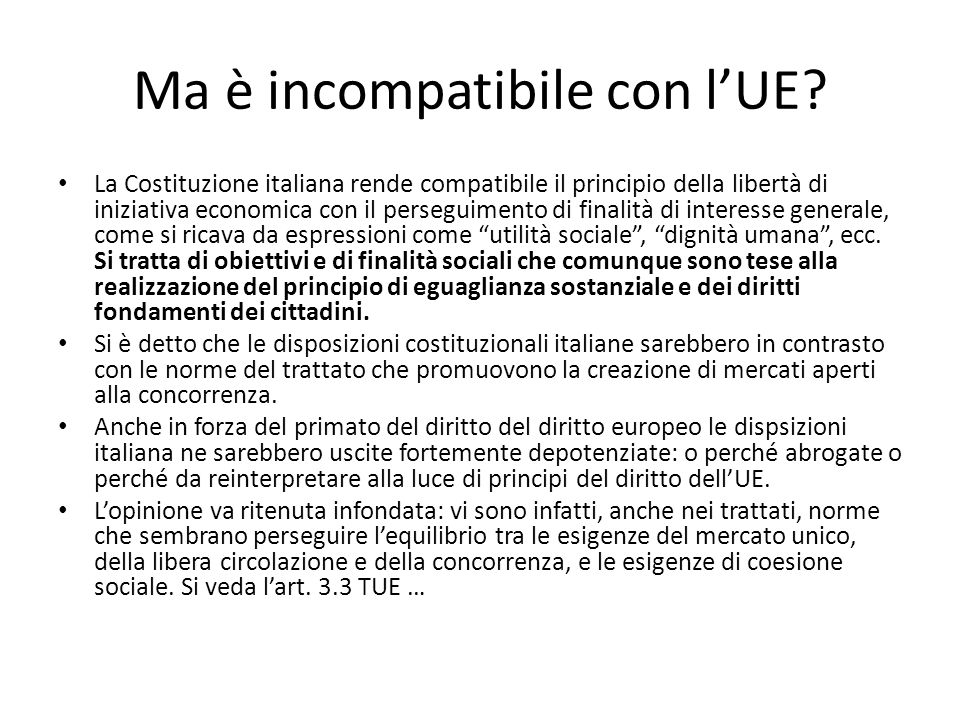 Ma è incompatibile con l'UE