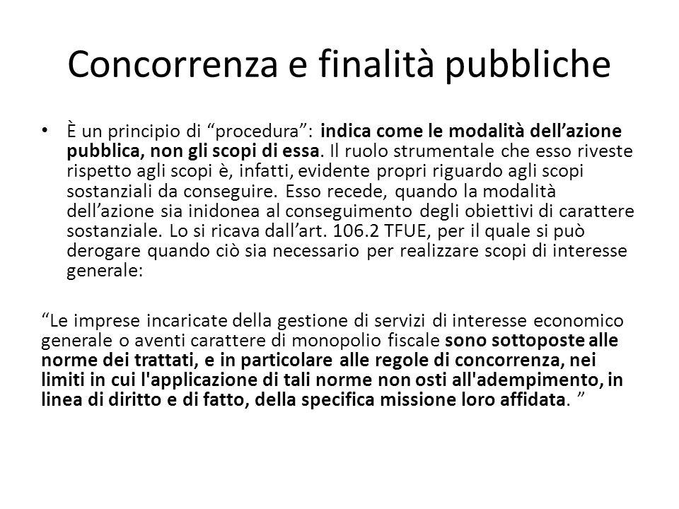 Concorrenza e finalità pubbliche