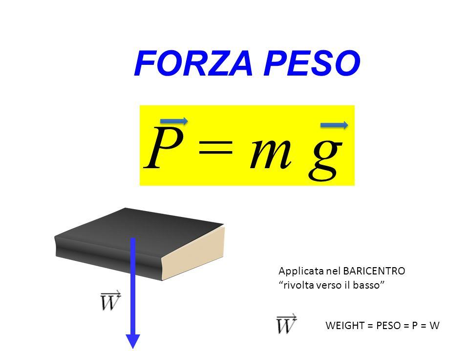 P = m g FORZA PESO Applicata nel BARICENTRO rivolta verso il basso