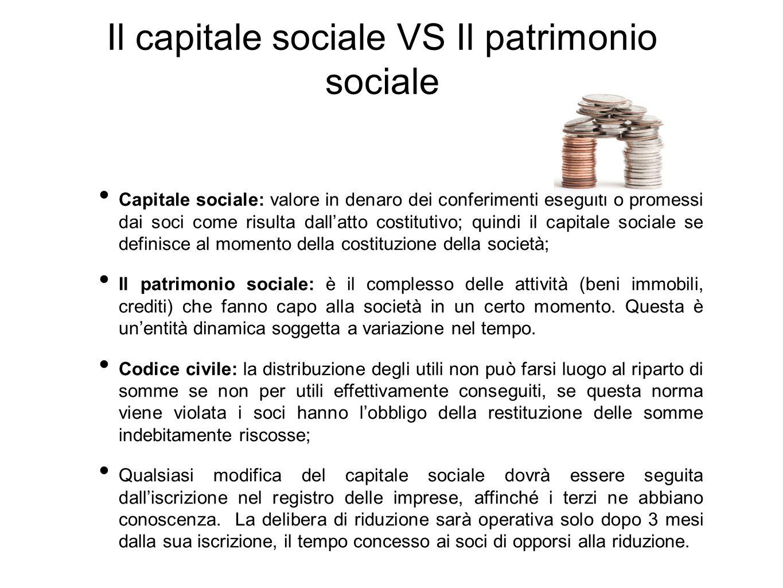 Il capitale sociale VS Il patrimonio sociale