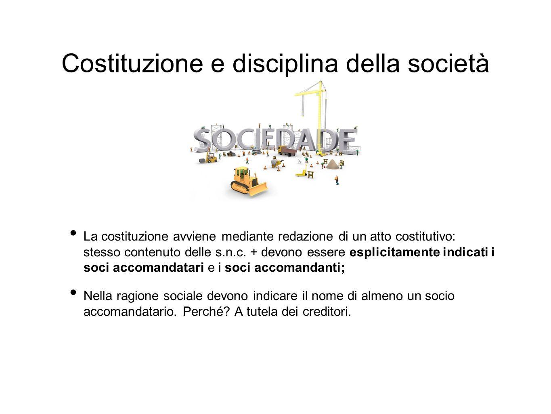 Costituzione e disciplina della società