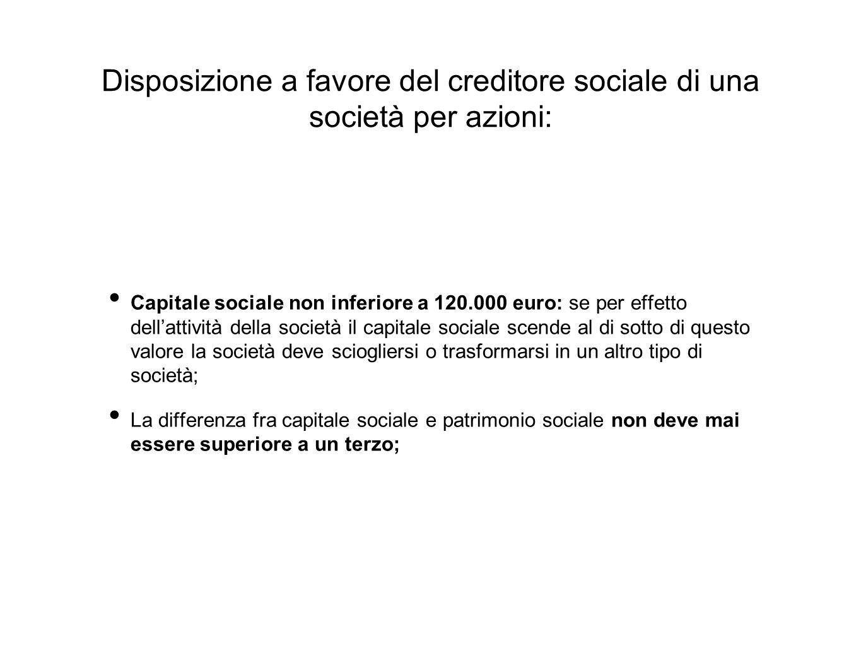 Disposizione a favore del creditore sociale di una società per azioni: