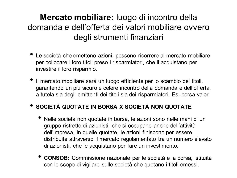 Mercato mobiliare: luogo di incontro della domanda e dell'offerta dei valori mobiliare ovvero degli strumenti finanziari