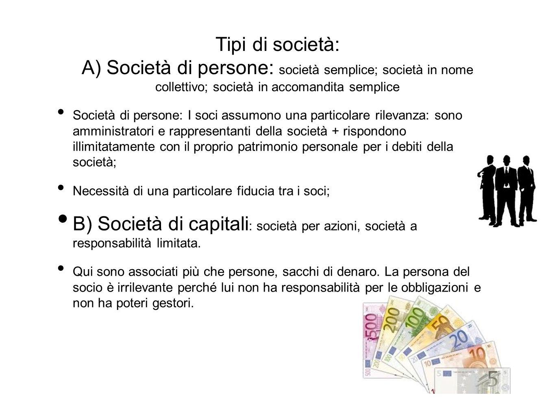 Tipi di società: A) Società di persone: società semplice; società in nome collettivo; società in accomandita semplice