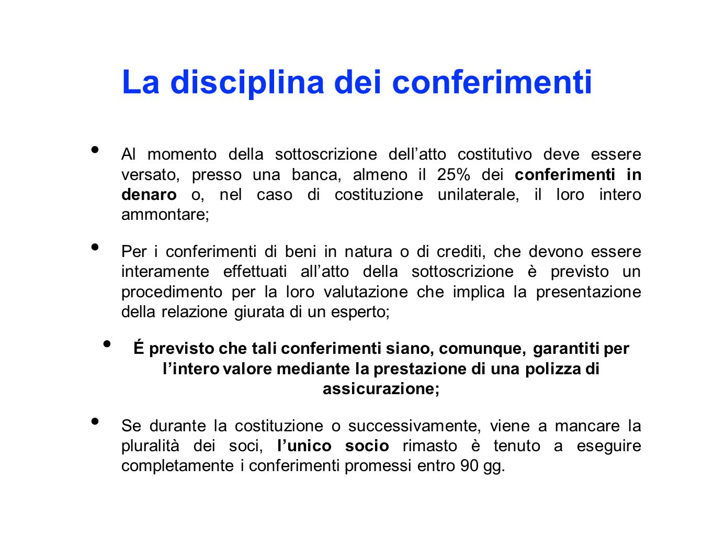 La disciplina dei conferimenti