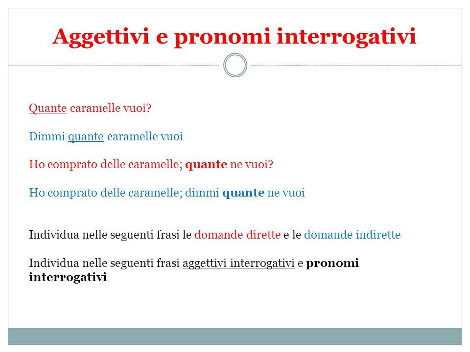 Aggettivi e pronomi interrogativi