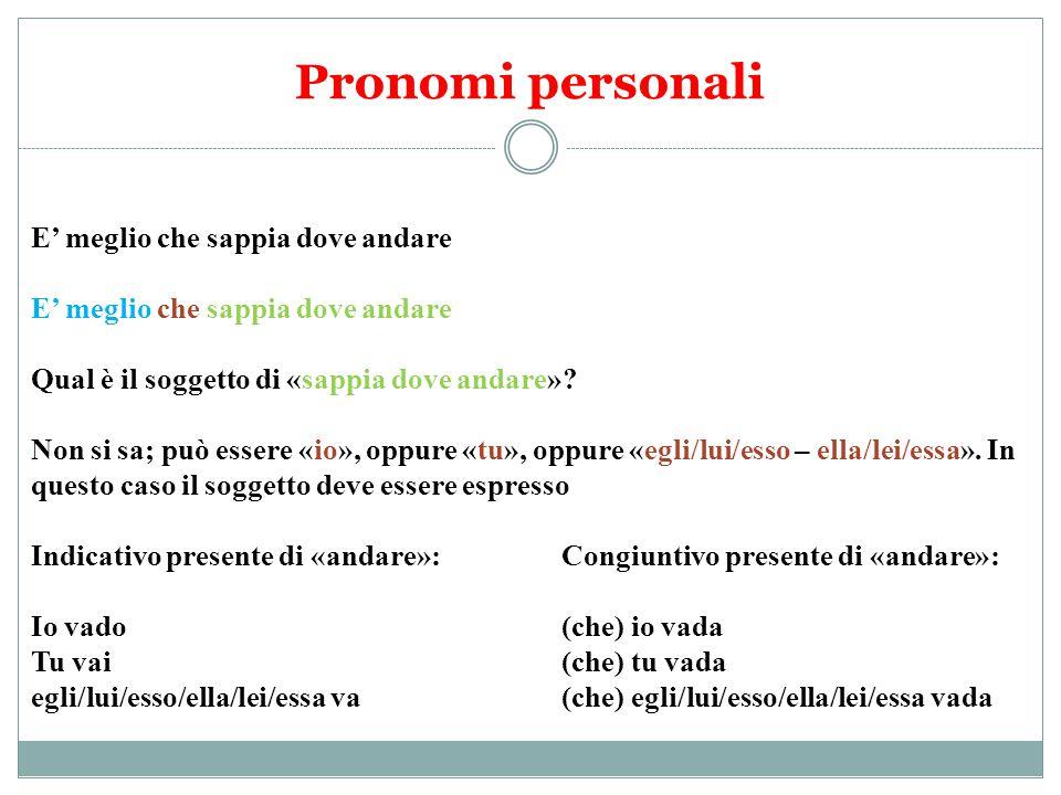 Pronomi personali E' meglio che sappia dove andare
