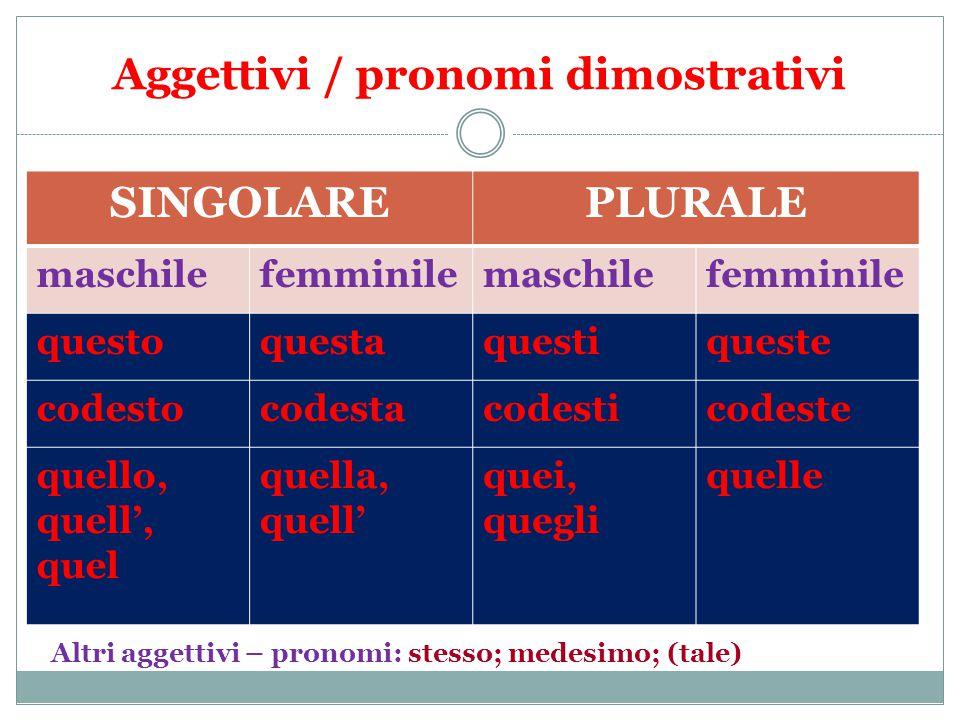 Aggettivi / pronomi dimostrativi