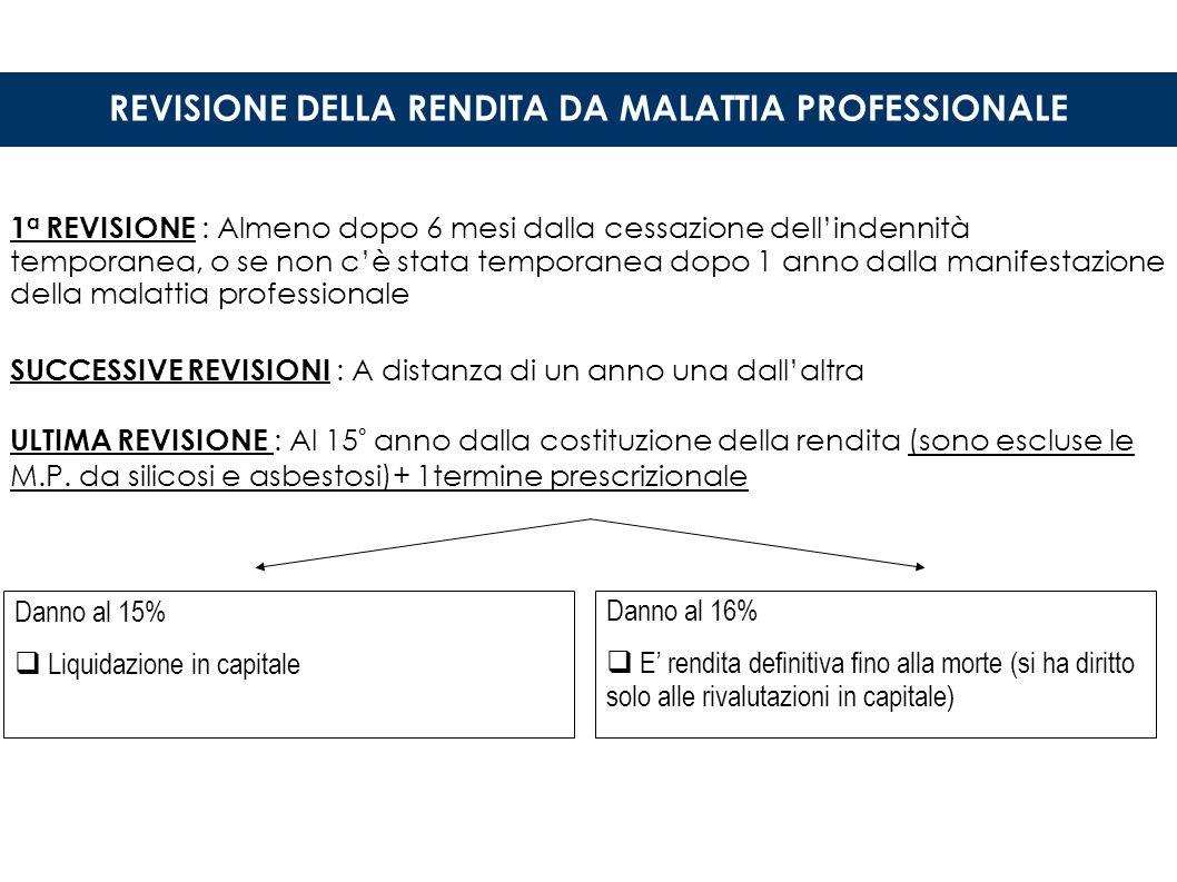 REVISIONE DELLA RENDITA DA MALATTIA PROFESSIONALE
