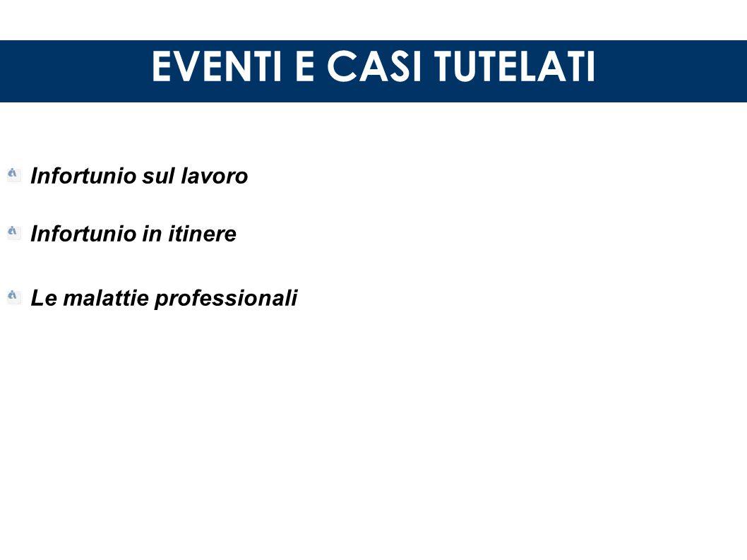 EVENTI E CASI TUTELATI Infortunio sul lavoro Infortunio in itinere