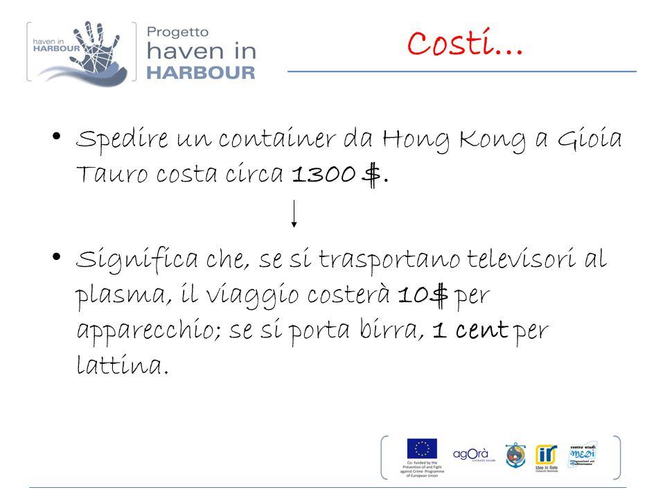 Costi… Spedire un container da Hong Kong a Gioia Tauro costa circa 1300 $.