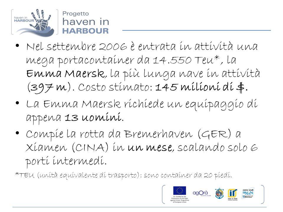 La Emma Maersk richiede un equipaggio di appena 13 uomini.