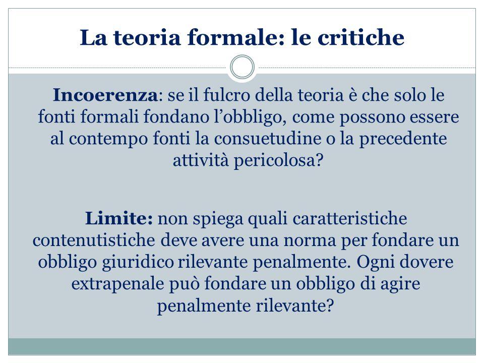 La teoria formale: le critiche