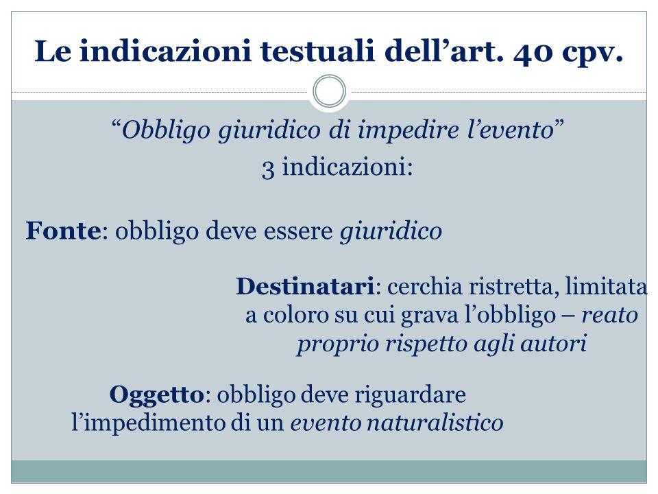 Le indicazioni testuali dell'art. 40 cpv.
