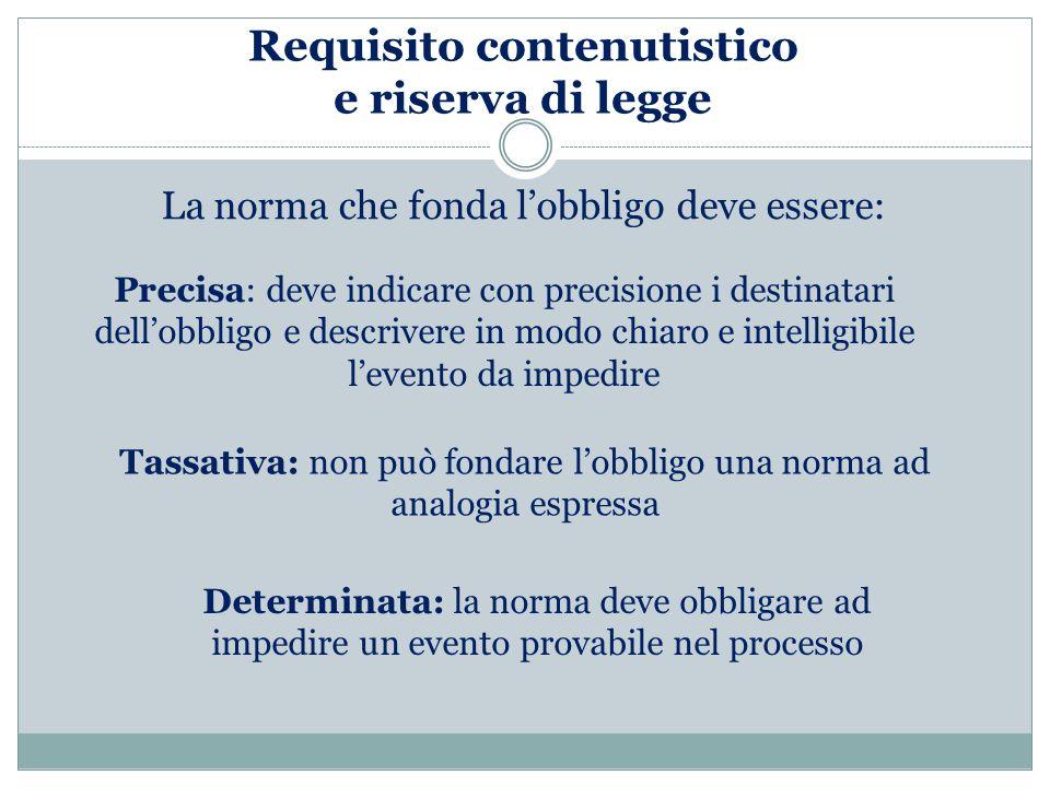 Requisito contenutistico e riserva di legge
