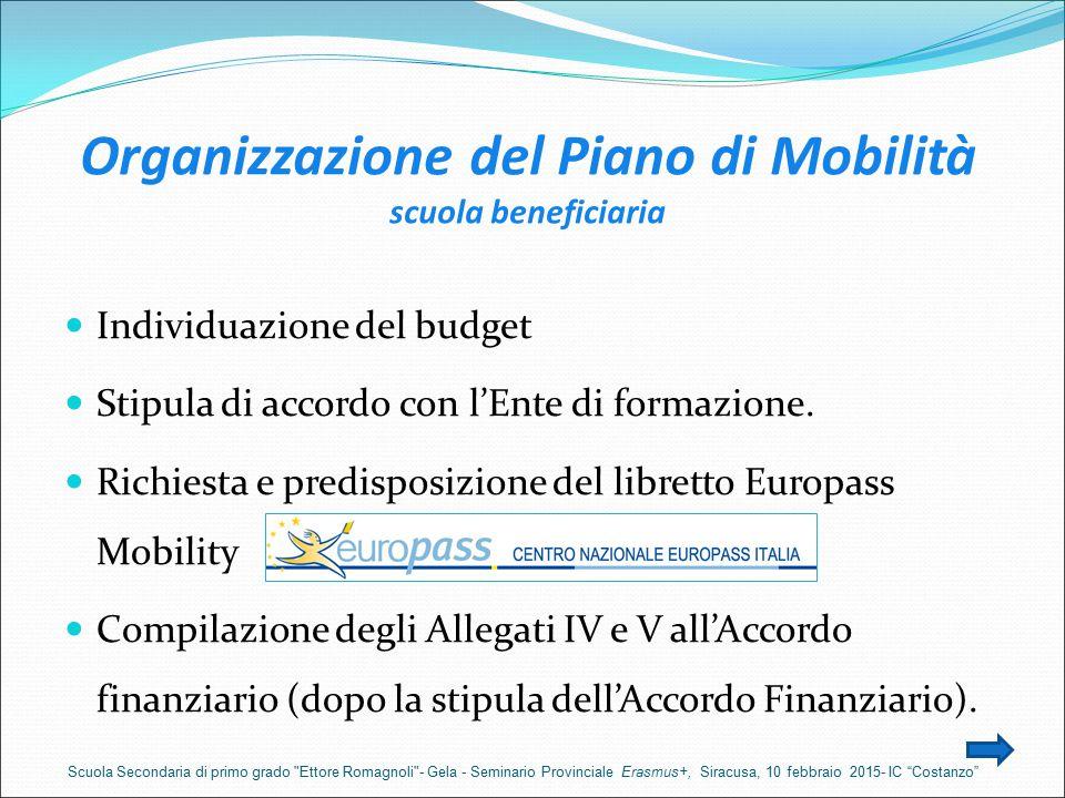 Organizzazione del Piano di Mobilità scuola beneficiaria