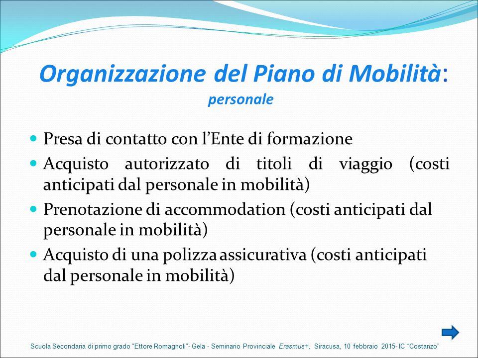 Organizzazione del Piano di Mobilità: personale
