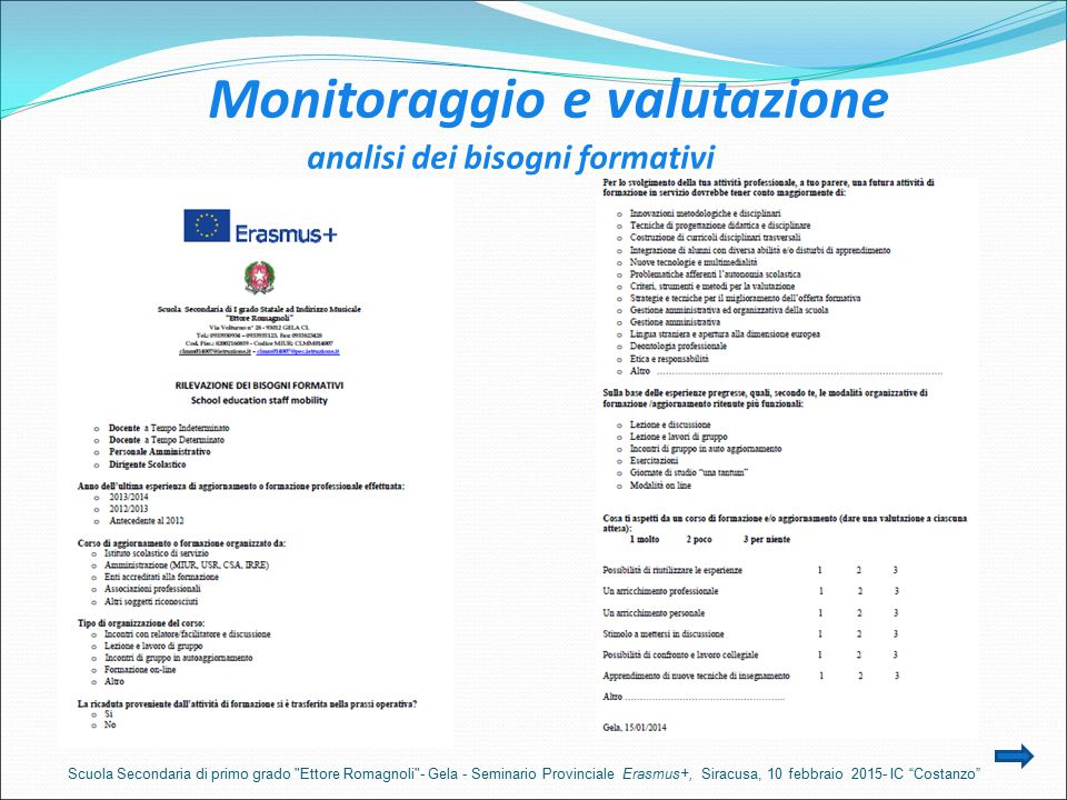Monitoraggio e valutazione analisi dei bisogni formativi