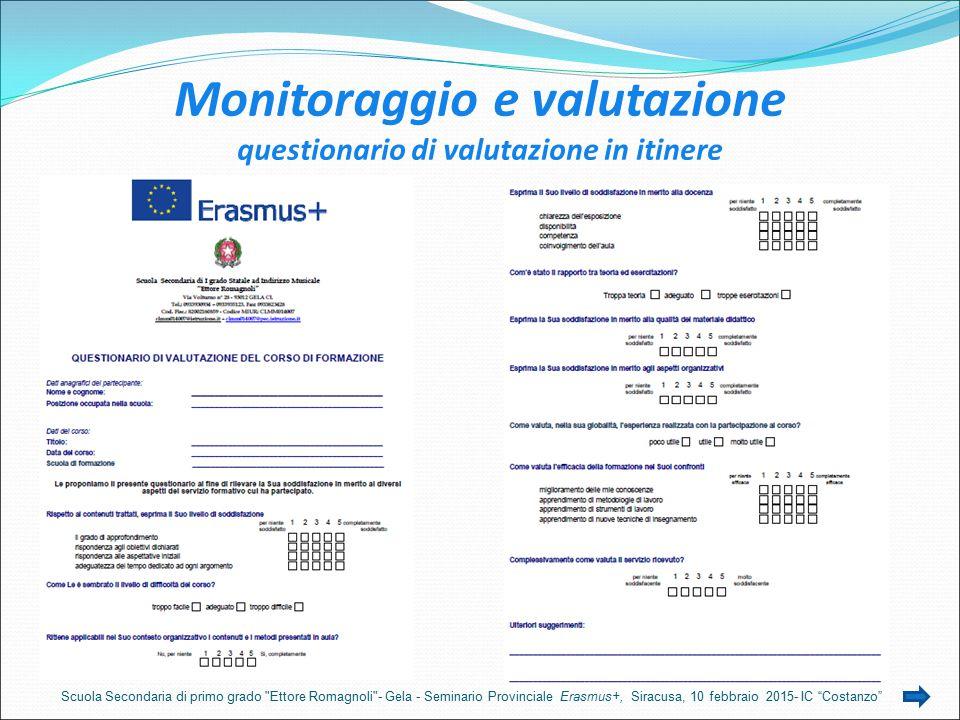 Monitoraggio e valutazione questionario di valutazione in itinere