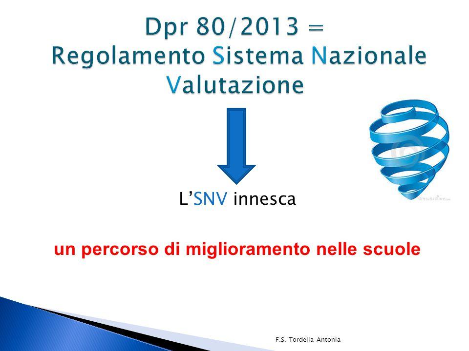 Dpr 80/2013 = Regolamento Sistema Nazionale Valutazione