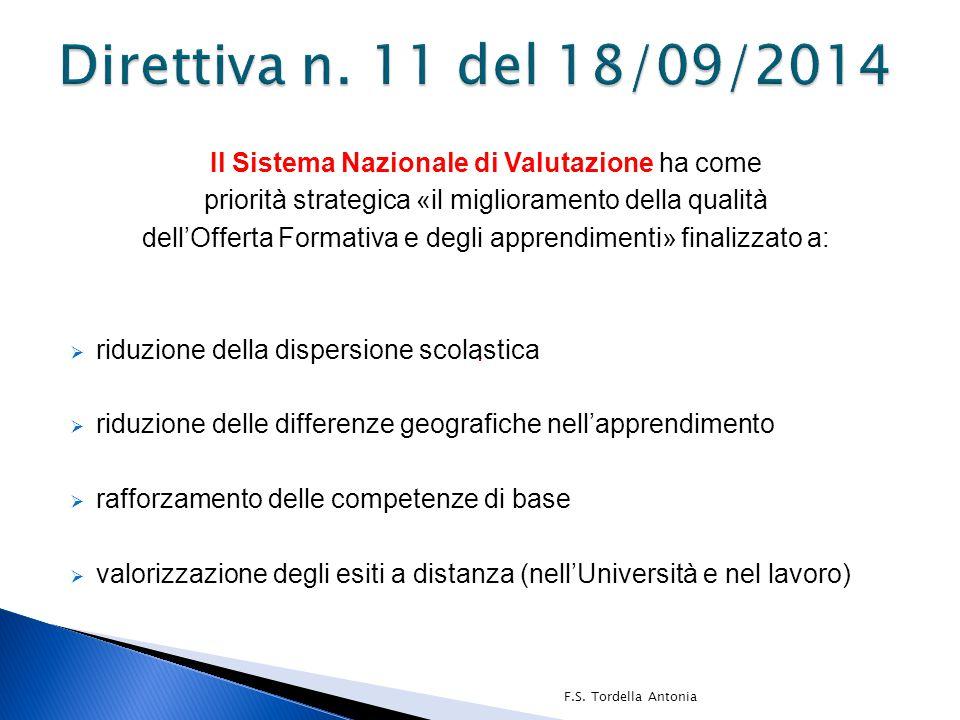 Direttiva n. 11 del 18/09/2014 Il Sistema Nazionale di Valutazione ha come. priorità strategica «il miglioramento della qualità.