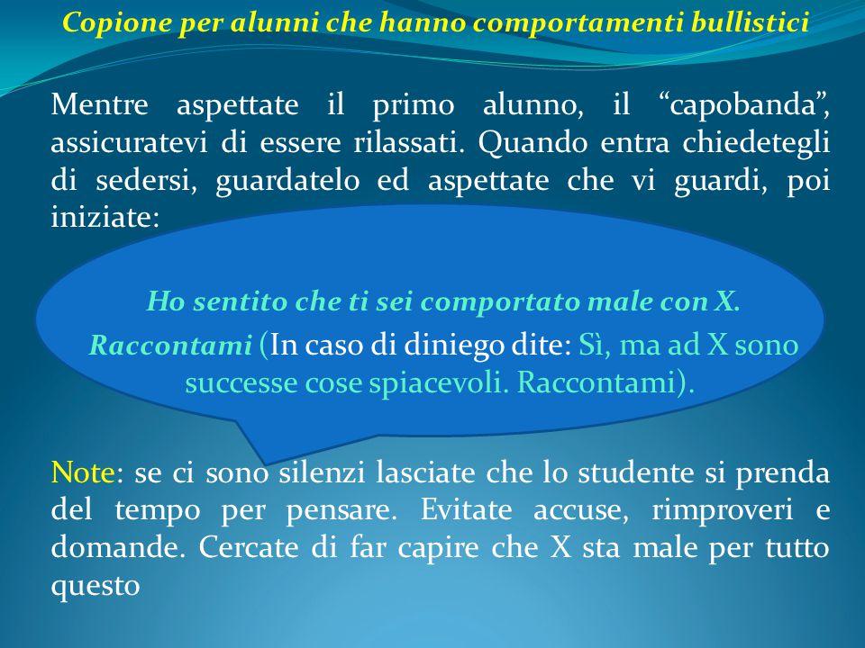 Copione per alunni che hanno comportamenti bullistici