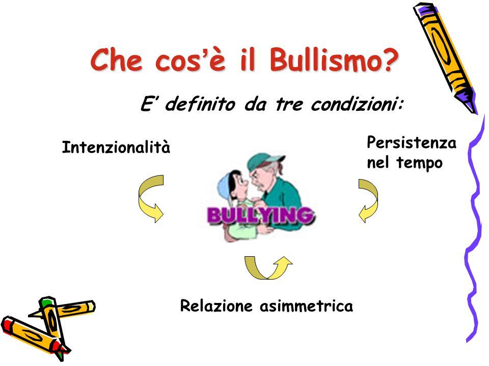 Che cos'è il Bullismo E' definito da tre condizioni: